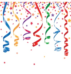 Curling ribbons party serpentine with confetti vector