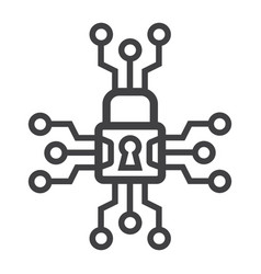 cyber security line icon padlock and security vector image vector image