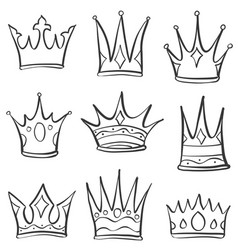 Doodle crown sketch set collection vector