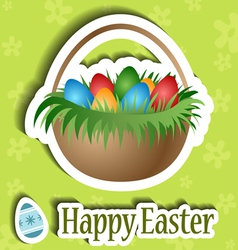 Easter card with basket and egg sticker vector image vector image