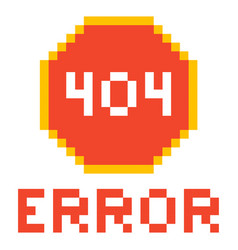Error page 404 pixel retro game style vector
