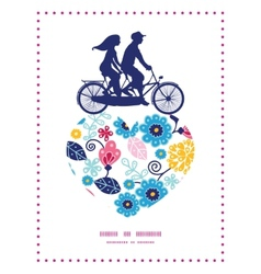 fairytale flowers couple on tandem bicycle vector image vector image