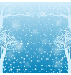Falling snow with bare trees vector