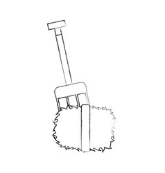Farm rake with straw blocks vector