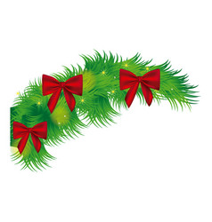 Fir with christmas bow arc icon vector