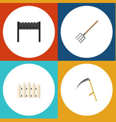 Flat icon dacha set of barbecue wooden barrier vector