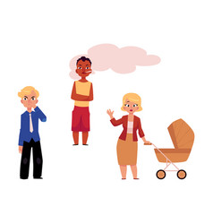 flat smoking problem characters set vector image