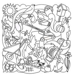 Garden coloring page vector