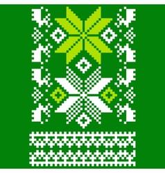Green knitted scandinavian scarf vector
