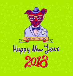 happy 2018 year of the dog dog on green vector image