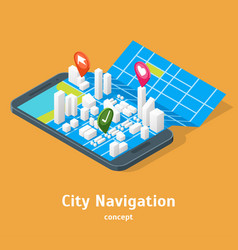 mobile gps city navigation maps concept 3d vector image