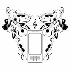 mobile phone music vector image