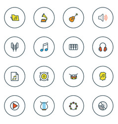 Multimedia icons colored line set with play vector