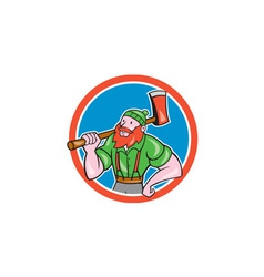 Paul bunyan lumberjack circle cartoon vector