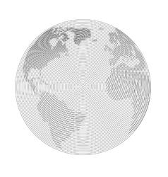 Raster globe linear vector image vector image