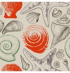 Sea shells retro seamless pattern vector image vector image