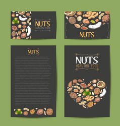 Set of cards with nuts and seeds vector
