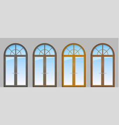 set of classic arched doors vector image