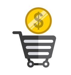 Shopping bag and coin icon graphic vector image