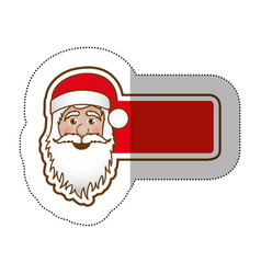 Sticker shading banner with face cartoon santa vector