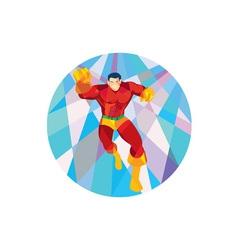 Superhero running punching low polygon vector