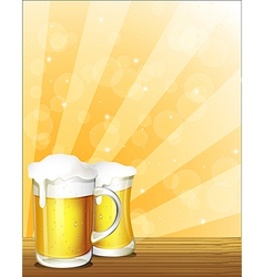 Two glasses of beer vector image vector image