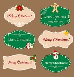 Vintage frames with Christmas decorations vector image vector image
