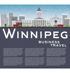 Winnipeg skyline with gray buildings vector