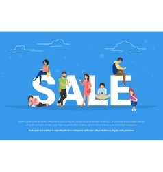 Sale concept of young people using vector