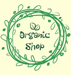 Flat label collection of 100 organic product and vector