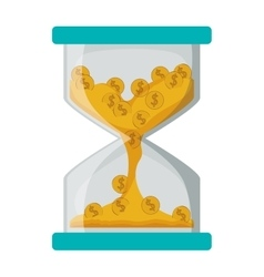 Isolated coins and hourglass design vector