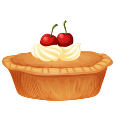 Cherry pie with cream and fresh cherries vector