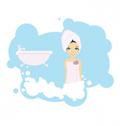 Bath girl vector