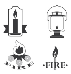 Stylish logos depicting fire vector