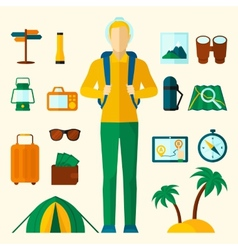 Tourist icons flat set vector