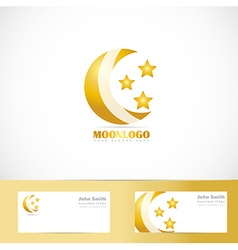 Moon stars logo design vector