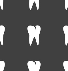 Tooth icon seamless pattern on a gray background vector
