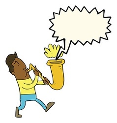 Cartoon man blowing saxophone with speech bubble vector