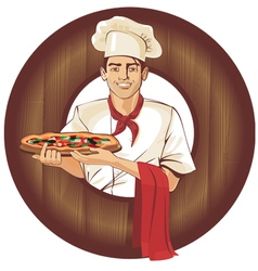 Italian pizza cook brunette man vector
