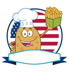 Potato chef holding fries banner vector