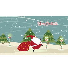 santa with trees vector image