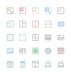 User interface colored line icons 29 vector