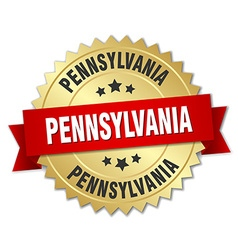 Pennsylvania round golden badge with red ribbon vector