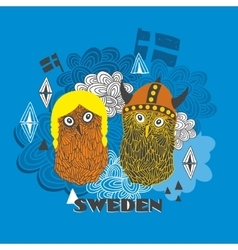 Emblem of sweden with cute vikings vector