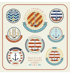 Nautical anchors label set 01 vector image
