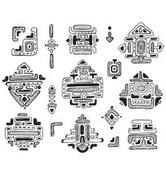 Hand drawn ornament maya set vector