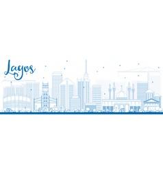 Outline lagos skyline with blue buildings vector