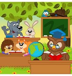 Animals sit at school desks in forest vector