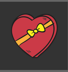 Big red heart with a bow on dark background vector