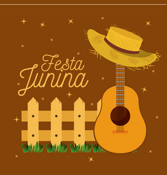 Colorful poster festa junina with starry vector